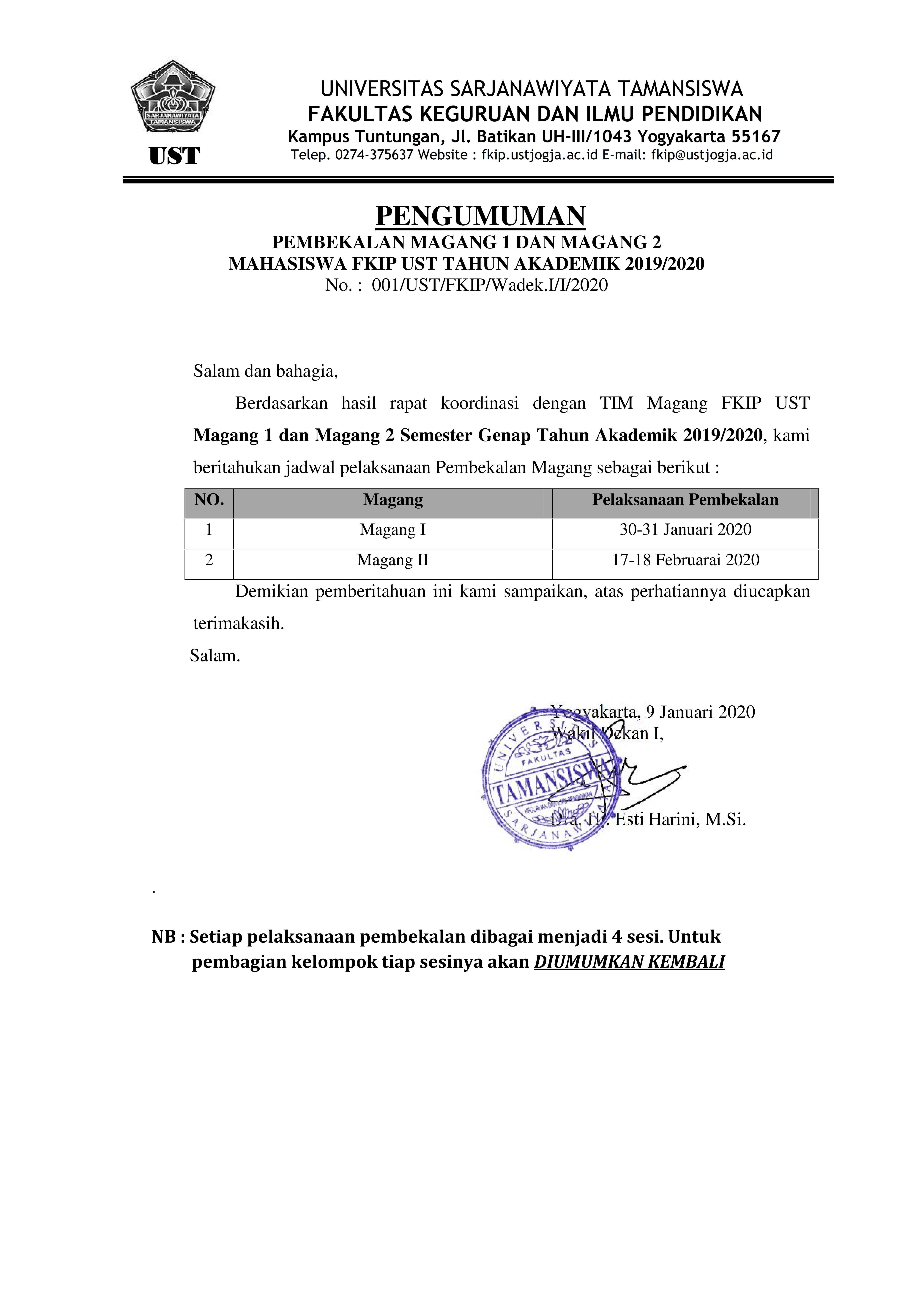 Pemberitahuan Pembekalan Magang I dan Magang II Tahun Akademik 2019/2020
