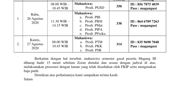 JADWAL PEMBEKALAN MAGANG III TAHUN AKADEMIK 2020/2021