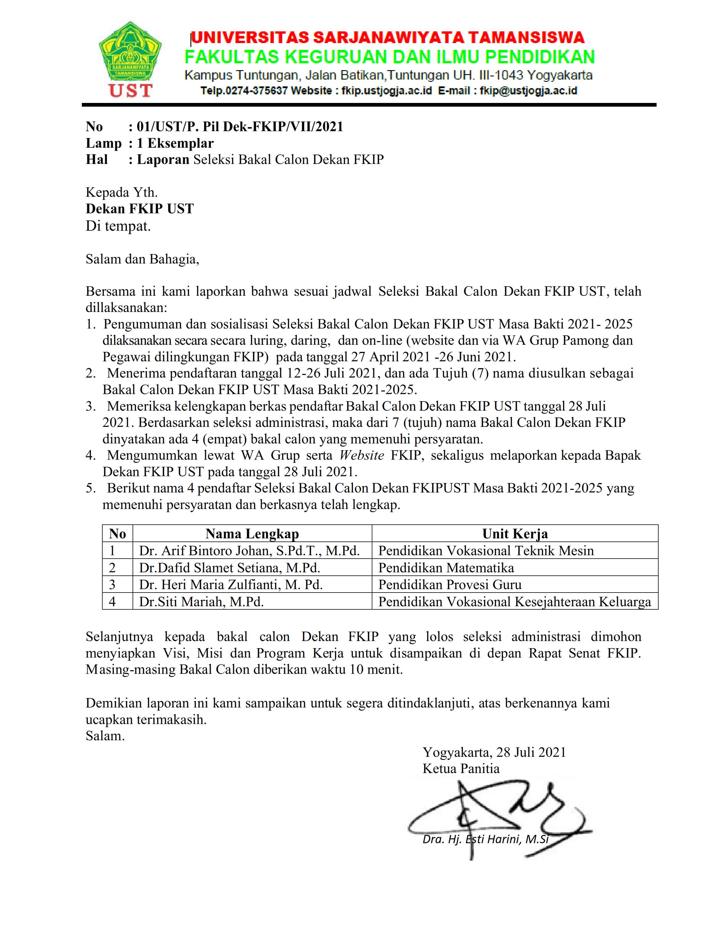 Laporan Seleksi Bakal Calon Dekan FKIP Periode 2021-2025