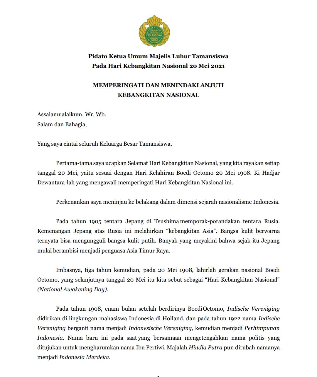 Pidato Ketua Umum Majelis Luhur Tamansiswa